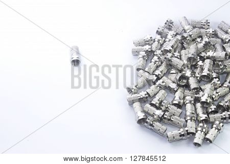 coaxial cable connectors on white background image