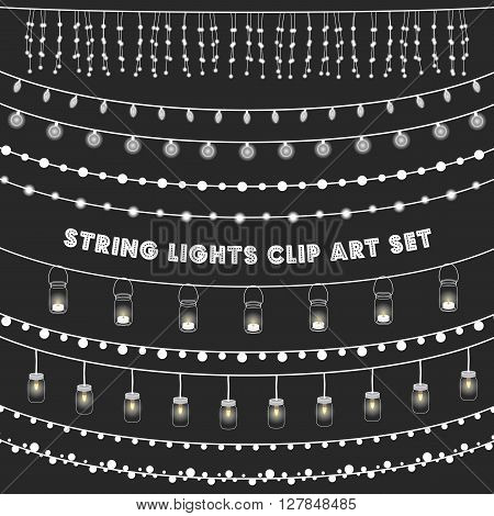 Chalkboard String Lights Set - Set of glowing string lights on a chalkboard grey background. EPS 10 with transparency.