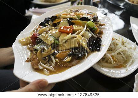 Fresh duck asian dish - chop suey close up