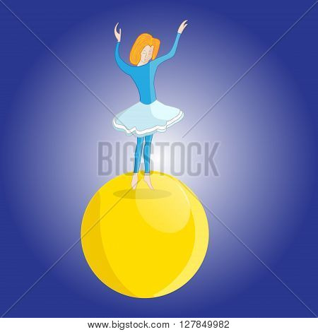 Illustration of a young girl tightrope Walker dancing on the big ball in the circus