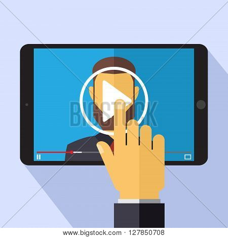 Vector video marketing concept in flat style - video player on the screen of tablet pc - infographics design element.