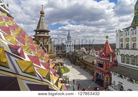 Moscow, Russia - April 23, 2016: The courtyard of the Kremlin in Izmailovo Moscow Russia. Replica in a traditional old Russian style.