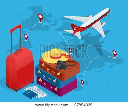 Travel bags, passport, foto camera and travel ticket and airplane in sky. Isometric flat 3d vector illustration