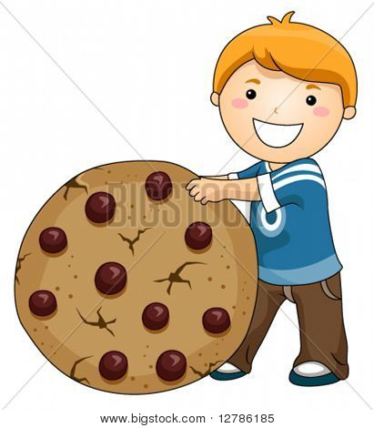 Boy with Chocolate Chip Cookie - Vector