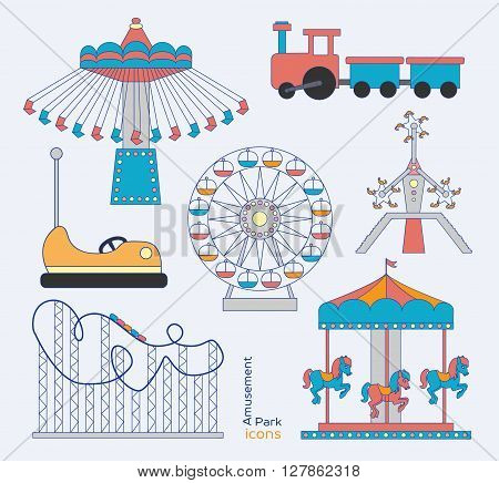 Colorful amusement park or funfair attraction icons
