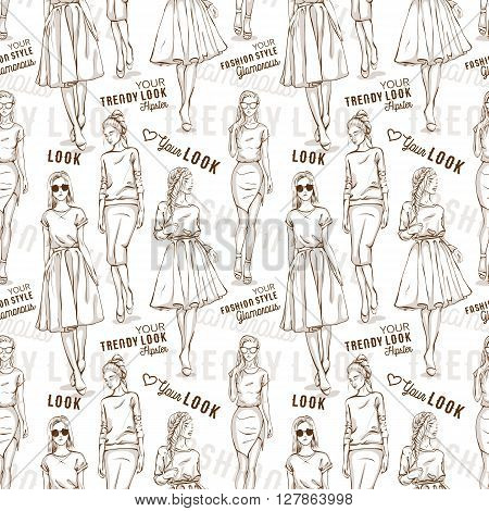 Fashion pattern with words, scetch of trendy look girls
