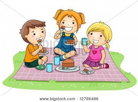 Children eating Cake in the Park - Vector