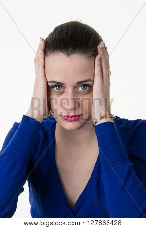 Fed Up Business Woman Isolated On White