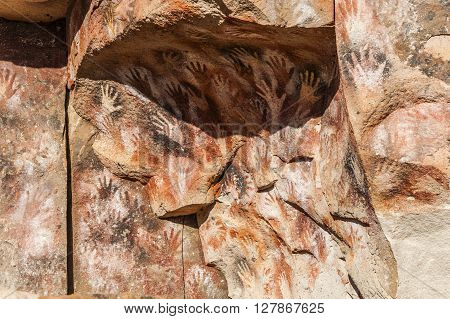 Paintings Of Ancient People In The Cave Of The Hands (spanish: Cueva De Las Manos), Patagonia, Argen
