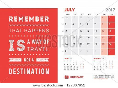 Desk Calendar Template For 2017 Year. July. Design Template With Motivational Quote. 3 Months On Pag
