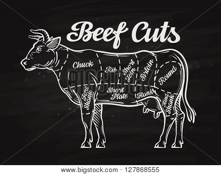 beef cuts. template menu design for restaurant or cafe