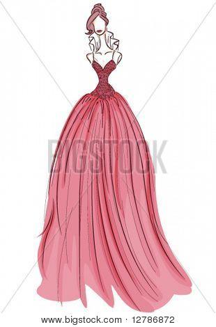 Girl in Gown Sketch - Vector