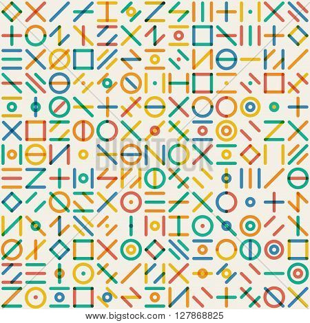 Vector Seamlesss Multicolor Geometric Line Random Shapes Grid Pattern Abstract Background