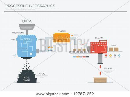Data processing infographics design ,Illustration eps 10
