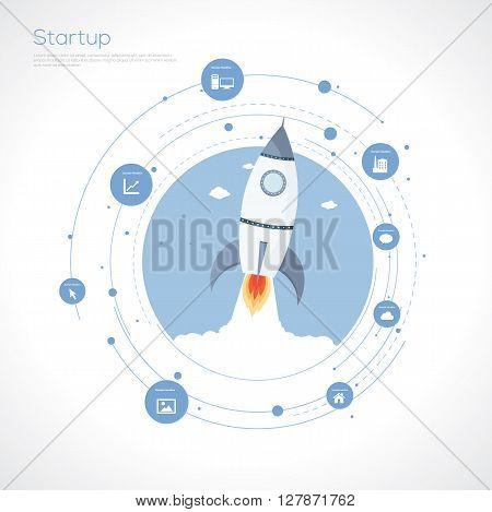 Start up rocket concept. Flat design.Vector Illustration