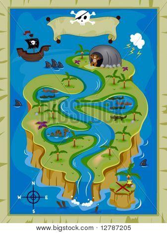 Treasure Map - Vector