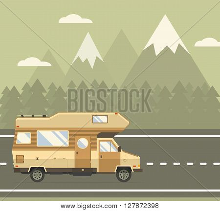 Road traveler truck driving on the road in mountain area. Rv auto travel vacation vector illustration. RV caravan motorhome van on countryside forest landscape. Family summer trip concept background.