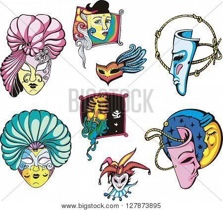 Venetian Carnival Masks Set. Color vector illustrations.