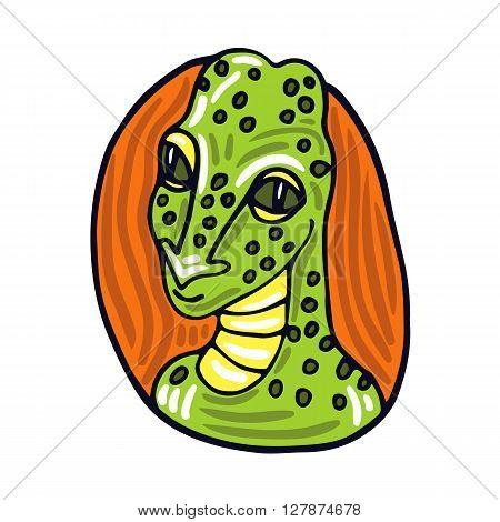 Reptilians alien portrait. Fictional creature from another planet. Vector cartoon character.
