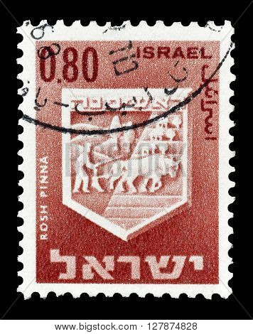 ISRAEL - CIRCA 1967 : Cancelled postage stamp printed by Israel, that shows Rosh Pinna.