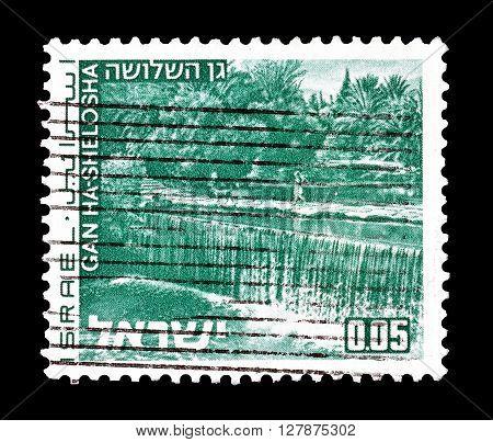 ISRAEL - CIRCA 1971 : Cancelled postage stamp printed by Israel, that shows Gan Ha Shelosha.
