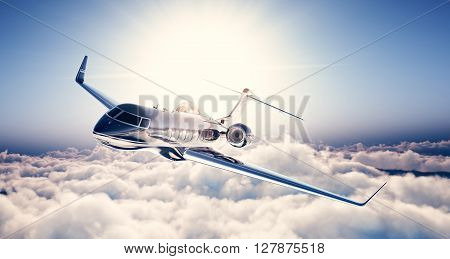 Image of black luxury generic design private jet flying in blue sky. Huge white clouds and sun at background. Business travel concept. Horizontal . 3d rendering