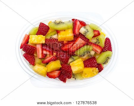 Fresh fruits salad isolated on white background
