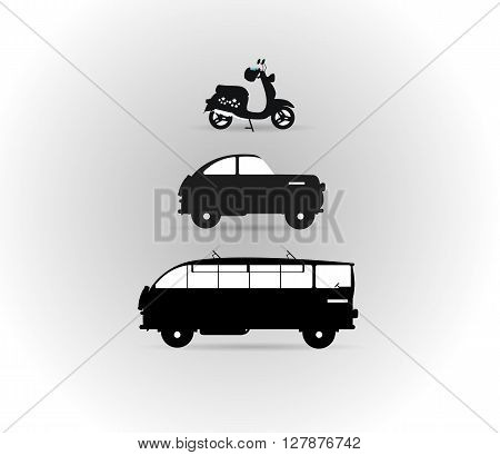 Black and white logos land transport motor