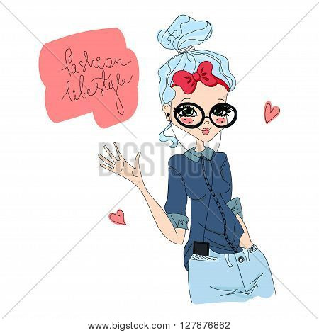 Colorful Cute Vector Fashion Lifestyle Illustration with a Fashion Model Loving the Fashion Lifestyle Stylish Brand New Fashion Clothes and Accessories for the Book Fashion Magazines or Illustration