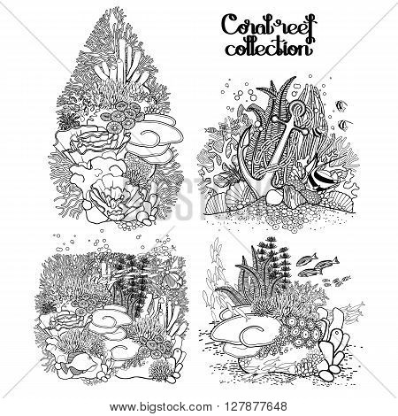 Coral reef  collection in line art style.  Sea and ocean plants and rocks isolated on white. Coloring page design.