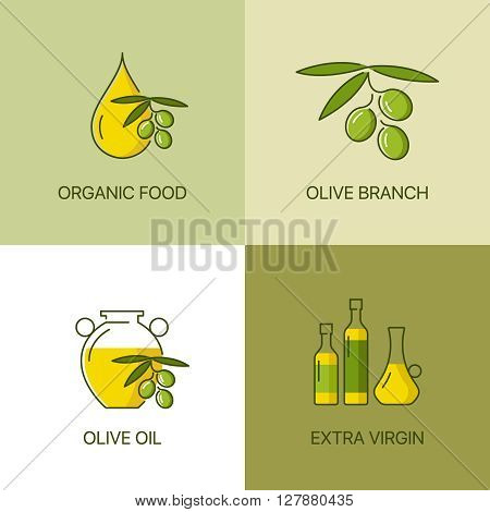 Organic olive thin line color logo concept. Exceptional natural oil calligraphic elegant linear emblem. 