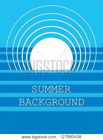 summer background with  white sun and  blue sea or ocean. flat. vector