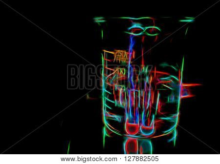 Chemical cocktail, experimental background, soft light, smooth neon lines digital illustration, neon in darkness illustration in glow disco style, experimental glow art, glow lines drawing of a glass