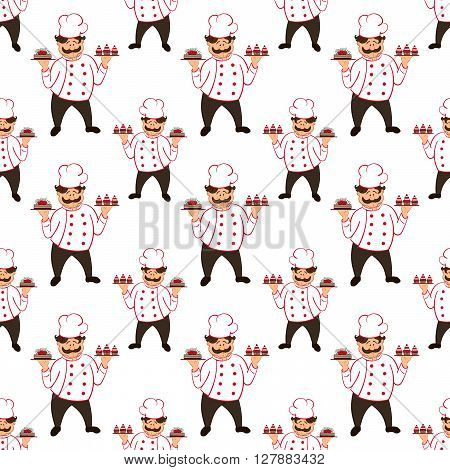 seamless pattern with confectioner with  chocolate cakes with cherry. vector.  isolated.