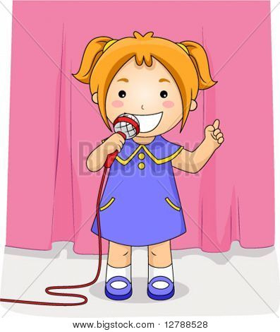 A Beaming Girl Performing in Front of an Audience - Vector