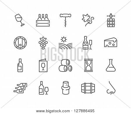 Simple Set of Wine Related Vector Line Icons. Contains such Icons as Wine Press, Winery, Nose, Cork, Cheese, Menu Vineyard and more. Editable Stroke. 48x48 Pixel Perfect. poster