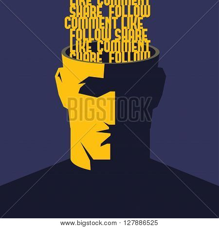 Social media addicted. Male open head with words Like, Comment, Share, Follow inside. Social media influence concept vector illustration.