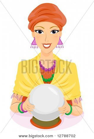 A Fortune Teller Holding Her Crystal Ball - Vector