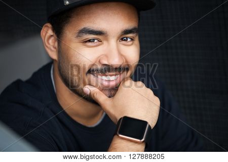 Young Black Hip Hop Boy Wearing Modern Smart Watches