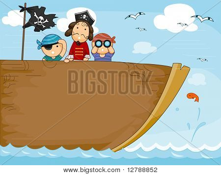 Background Design Featuring a Pirate Ship - Vector