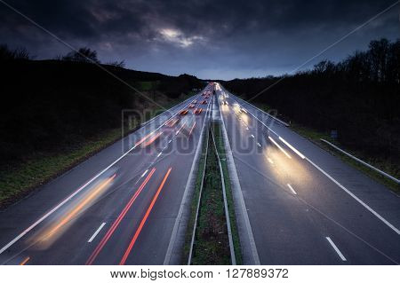 Light Trails of Fast Moving Cars on Busy British Motorway