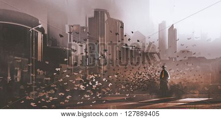 mystery man with crowd of butterflies in city, illustration painting
