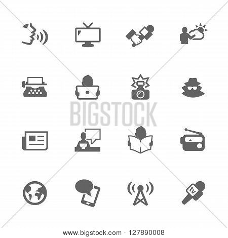 Simple Set of News Related Vector Icons. Contains Such Icons as Reporter, Agent, Interview, Radio, Voice, News paper and More.