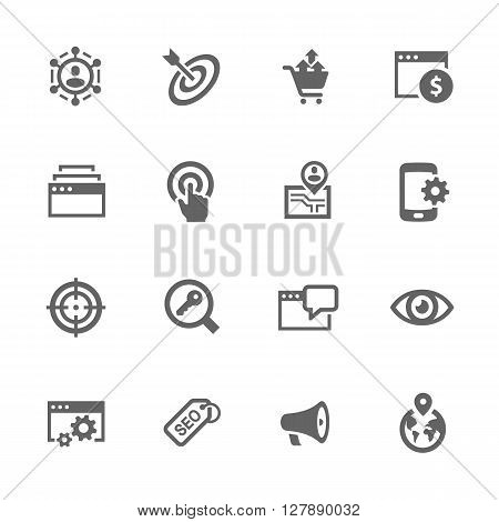 Simple Set of SEO Related Vector Icons. Contains Such Icons as Increase Sales, Site Optimization, Social Network and More.