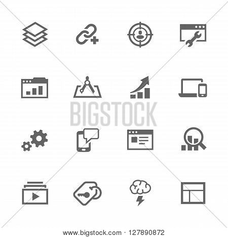 Simple Set of SEO Related Vector Icons. Contains Such Search Optimisation, Links, Settings and More.