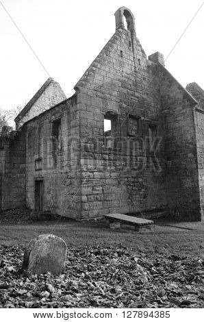 An exterior view of the ruins of St. Bridgets Kirk