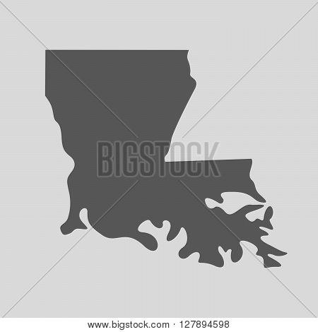 Black map of the State of Louisiana - vector illustration. Simple flat map State of Louisiana.