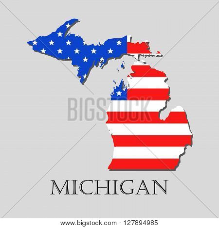 Map of the State of Michigan and American flag illustration. America Flag map - vector illustration.