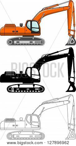 Detailed illustration of excavators, heavy equipment and machinery. Excavators. Heavy construction and mining machines.