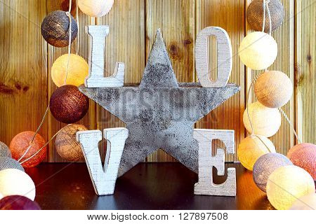 love home interior decoration, warm atmosphere with lights